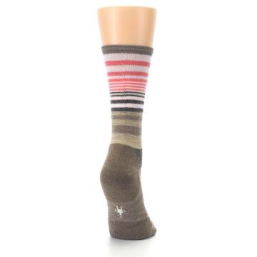 Image of Pink Tan Stripe Wool Women's Casual Socks (side-1-back-20)
