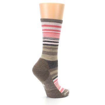 Image of Pink Tan Stripe Wool Women's Casual Socks (side-1-23)