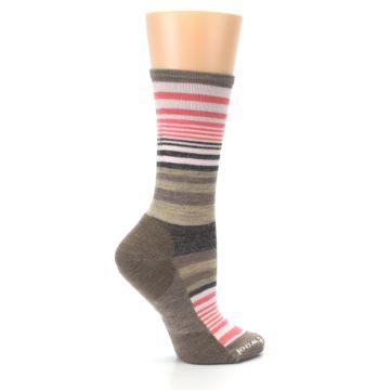 Image of Pink Tan Stripe Wool Women's Casual Socks (side-1-24)