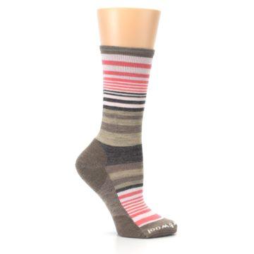 Image of Pink Tan Stripe Wool Women's Casual Socks (side-1-25)