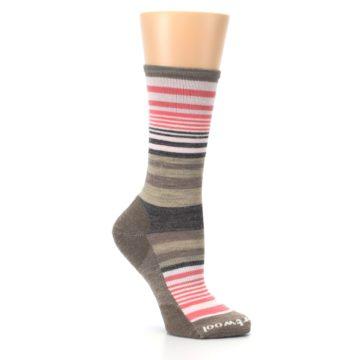 Image of Pink Tan Stripe Wool Women's Casual Socks (side-1-26)