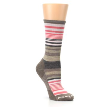 Image of Pink Tan Stripe Wool Women's Casual Socks (side-1-27)