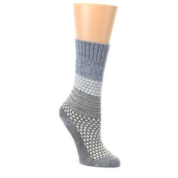 Gray-Cream-Popcorn-Cable-Wool-Womens-Casual-Socks-Smartwool