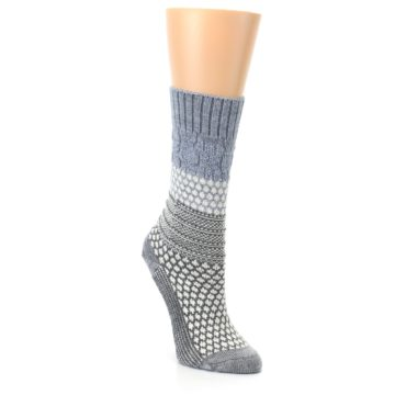 Image of Gray Cream Popcorn Cable Wool Women's Casual Socks (side-1-front-02)