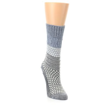 Image of Gray Cream Popcorn Cable Wool Women's Casual Socks (side-1-front-03)