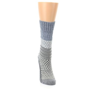 Image of Gray Cream Popcorn Cable Wool Women's Casual Socks (front-04)