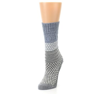 Image of Gray Cream Popcorn Cable Wool Women's Casual Socks (side-2-front-08)