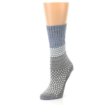 Image of Gray Cream Popcorn Cable Wool Women's Casual Socks (side-2-09)