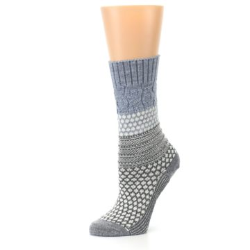 Image of Gray Cream Popcorn Cable Wool Women's Casual Socks (side-2-10)