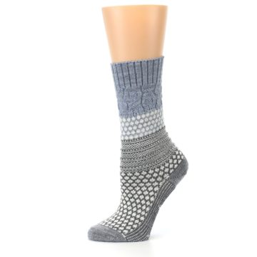 Image of Gray Cream Popcorn Cable Wool Women's Casual Socks (side-2-11)
