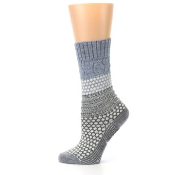 Image of Gray Cream Popcorn Cable Wool Women's Casual Socks (side-2-12)
