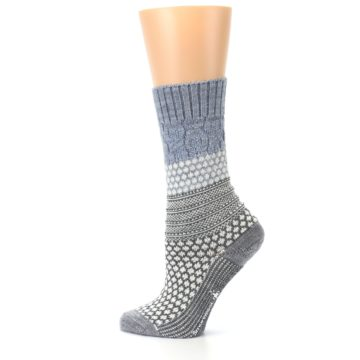 Image of Gray Cream Popcorn Cable Wool Women's Casual Socks (side-2-13)