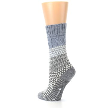 Image of Gray Cream Popcorn Cable Wool Women's Casual Socks (side-2-back-15)