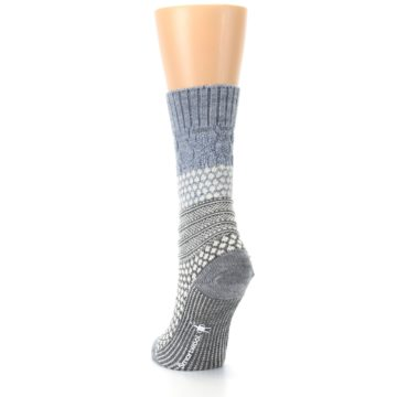 Image of Gray Cream Popcorn Cable Wool Women's Casual Socks (back-17)