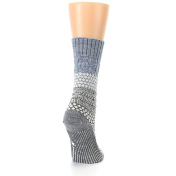 Image of Gray Cream Popcorn Cable Wool Women's Casual Socks (side-1-back-21)