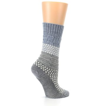 Image of Gray Cream Popcorn Cable Wool Women's Casual Socks (side-1-24)