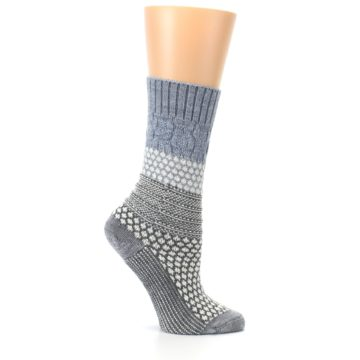 Image of Gray Cream Popcorn Cable Wool Women's Casual Socks (side-1-25)