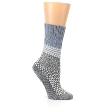 Image of Gray Cream Popcorn Cable Wool Women's Casual Socks (side-1-26)