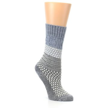 Image of Gray Cream Popcorn Cable Wool Women's Casual Socks (side-1-27)