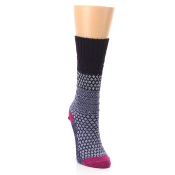 Image of Purple Popcorn Cable Wool Women's Casual Socks (side-1-front-03)