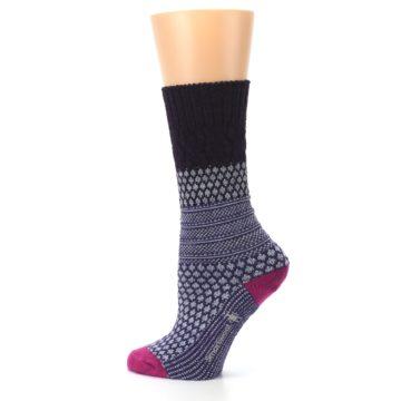 Image of Purple Popcorn Cable Wool Women's Casual Socks (side-2-13)