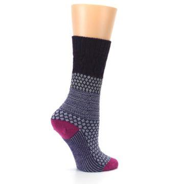 Image of Purple Popcorn Cable Wool Women's Casual Socks (side-1-24)