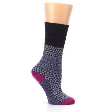 Image of Purple Popcorn Cable Wool Women's Casual Socks (side-1-25)