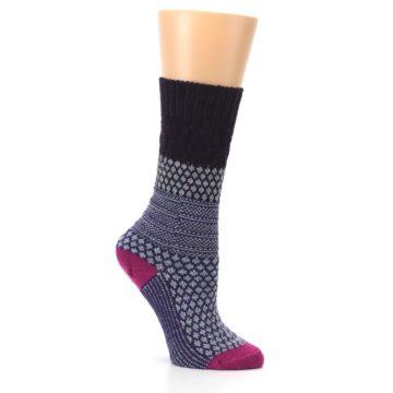 Image of Purple Popcorn Cable Wool Women's Casual Socks (side-1-26)