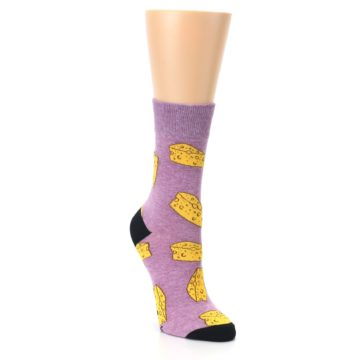 Image of Purple Yellow Cheese Chunk Women's Dress Sock (side-1-front-02)