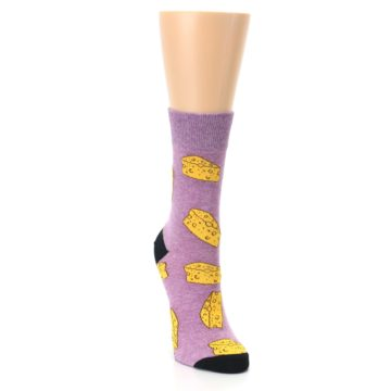 Image of Purple Yellow Cheese Chunk Women's Dress Sock (side-1-front-03)