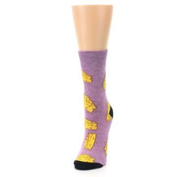 Image of Purple Yellow Cheese Chunk Women's Dress Sock (side-2-front-07)
