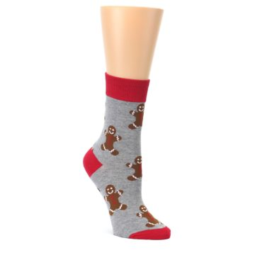 Gray-Brown-Gingerbread-Man-Womens-Dress-Sock-Good-Luck-Socks