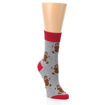 Image of Gray Brown Gingerbread Man Women's Dress Sock (side-1-front-02)