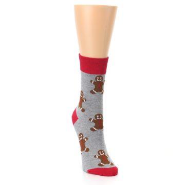 Image of Gray Brown Gingerbread Man Women's Dress Sock (side-1-front-03)