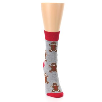 Image of Gray Brown Gingerbread Man Women's Dress Sock (front-04)