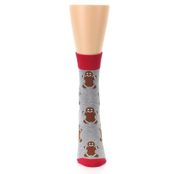 Image of Gray Brown Gingerbread Man Women's Dress Sock (front-05)
