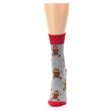 Image of Gray Brown Gingerbread Man Women's Dress Sock (side-2-front-06)