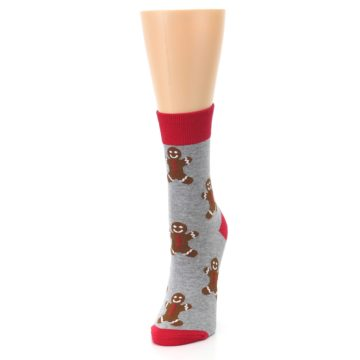 Image of Gray Brown Gingerbread Man Women's Dress Sock (side-2-front-07)