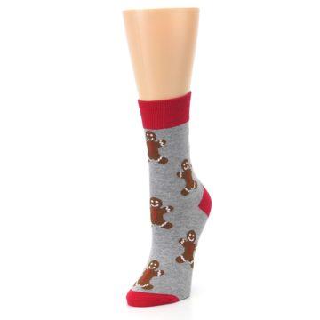Image of Gray Brown Gingerbread Man Women's Dress Sock (side-2-front-08)