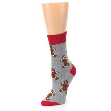 Image of Gray Brown Gingerbread Man Women's Dress Sock (side-2-09)