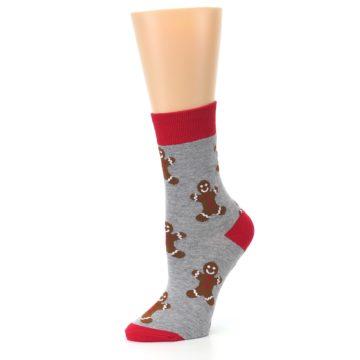 Image of Gray Brown Gingerbread Man Women's Dress Sock (side-2-10)