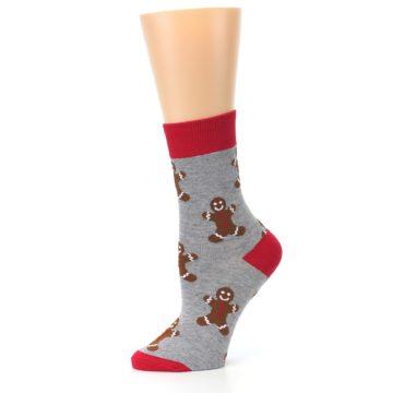 Image of Gray Brown Gingerbread Man Women's Dress Sock (side-2-11)