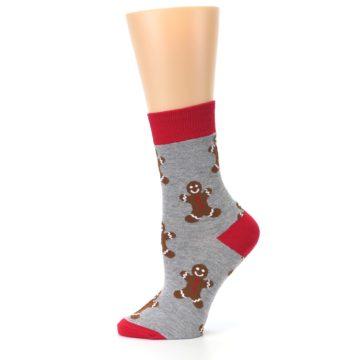 Image of Gray Brown Gingerbread Man Women's Dress Sock (side-2-12)