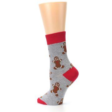 Image of Gray Brown Gingerbread Man Women's Dress Sock (side-2-back-14)