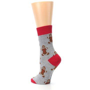 Image of Gray Brown Gingerbread Man Women's Dress Sock (side-2-back-15)
