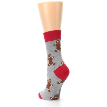 Image of Gray Brown Gingerbread Man Women's Dress Sock (side-2-back-16)