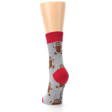 Image of Gray Brown Gingerbread Man Women's Dress Sock (back-17)