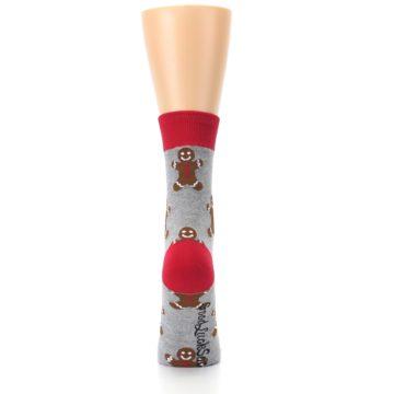 Image of Gray Brown Gingerbread Man Women's Dress Sock (back-19)