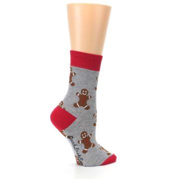 Image of Gray Brown Gingerbread Man Women's Dress Sock (side-1-24)