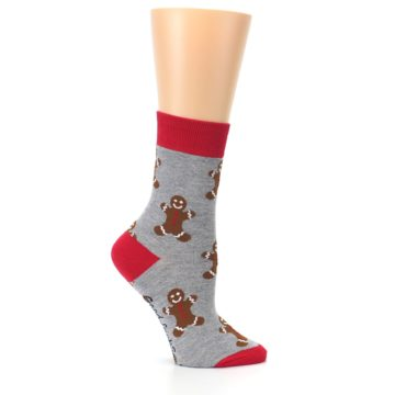 Image of Gray Brown Gingerbread Man Women's Dress Sock (side-1-25)